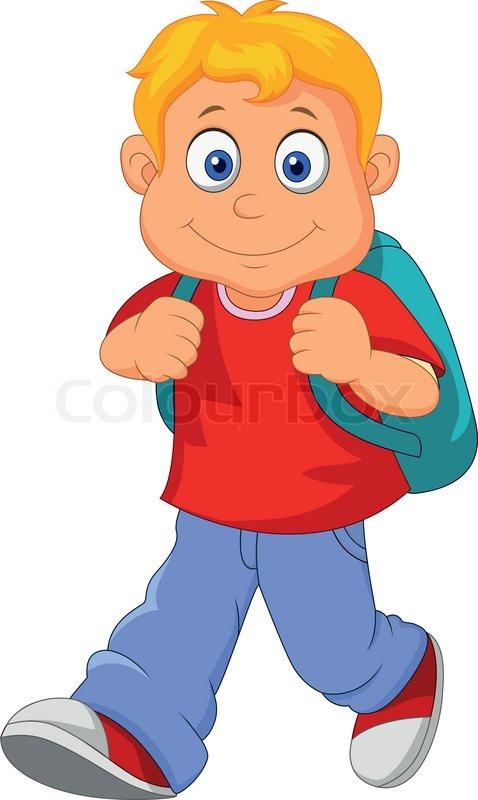 vector illustration of little boy cartoon walking stock vector rh colourbox com cartoon little boy with glasses cartoon little boy drawing