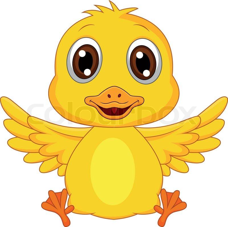 Vector illustration of Cute baby duck cartoon | Vector ...