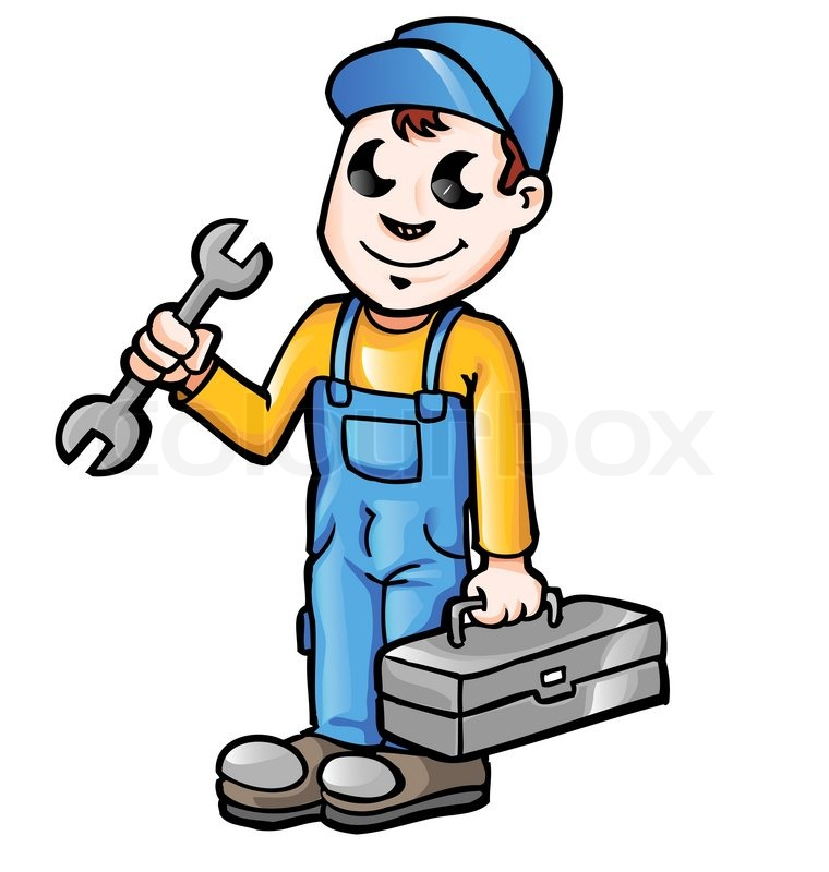 happy cartoon plumber or mechanic with spanner stock Financial Assistance Clip Art Financial Assistance Clip Art