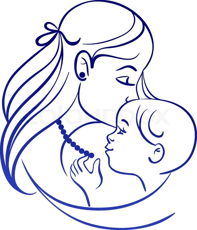 Love The Mother Child Silhouette: Mother And Baby. Linear Silhouette Of Mother And Her Child