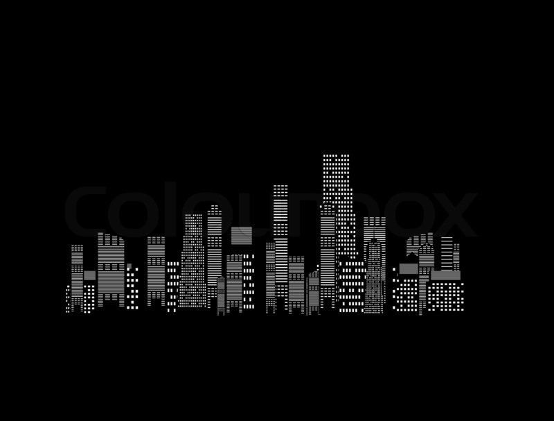 Illustration of cities silhouette on black background ...