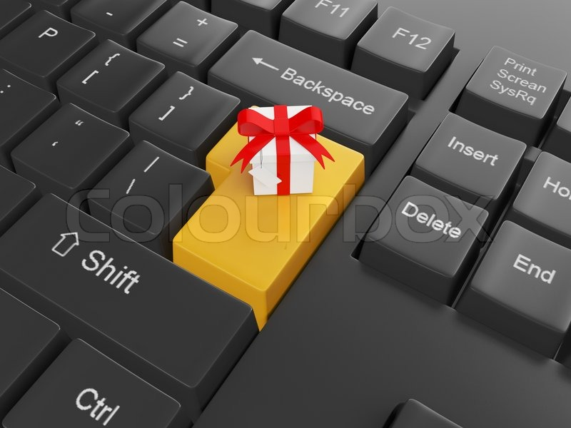 Computer technology. Keyboard with a gift Enter key to send a gift to a friend, stock photo