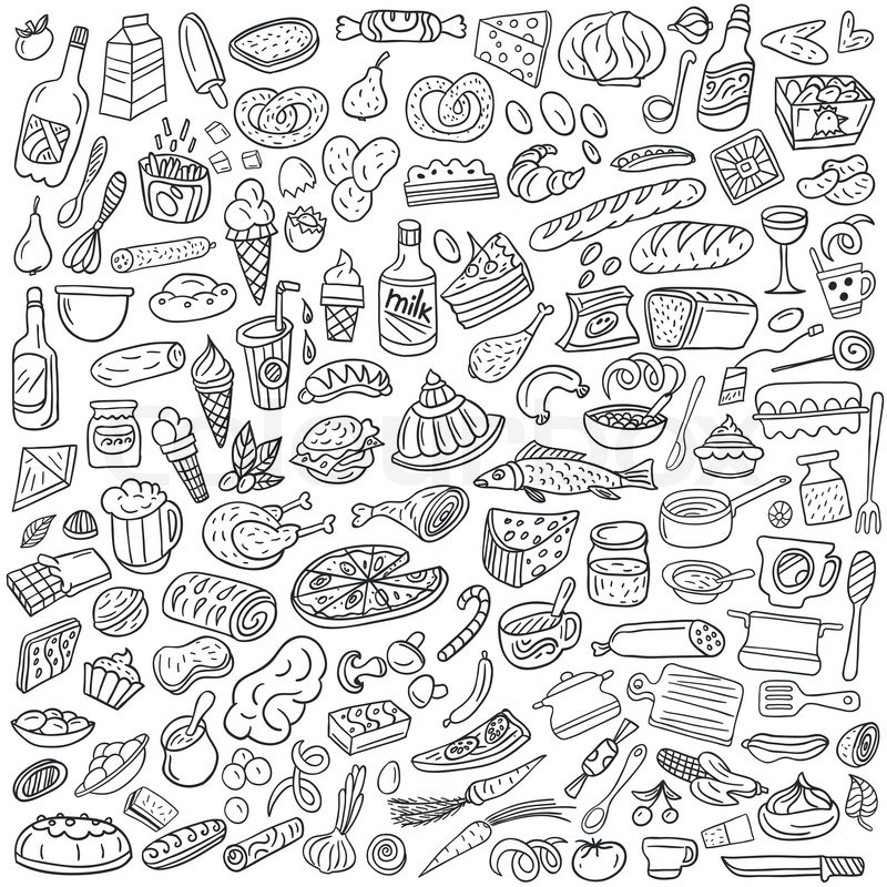 Food Doodles - Set Icons In Sketch Style | Stock Vector | Colourbox
