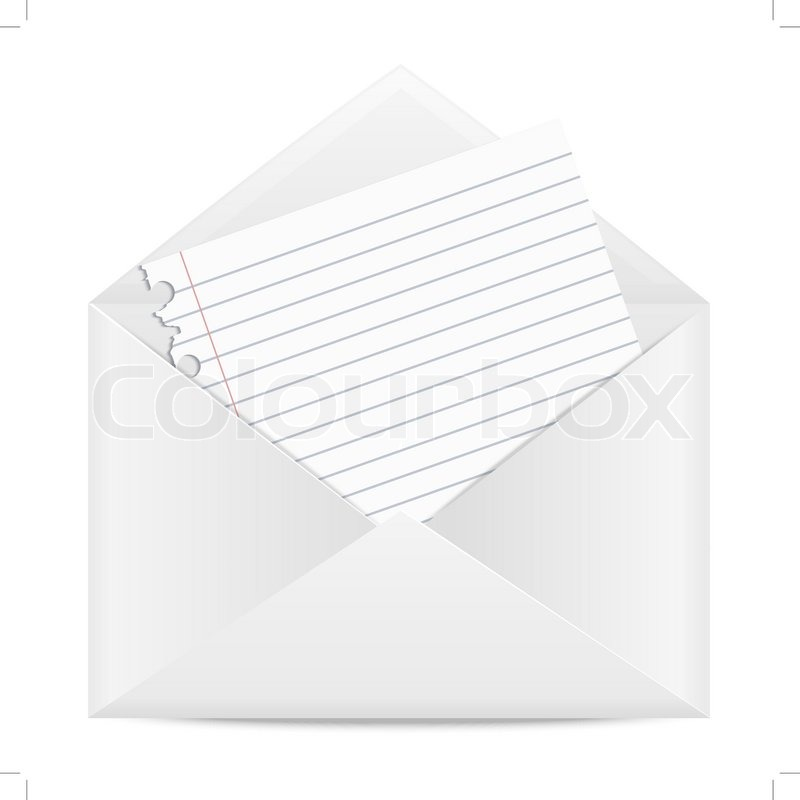 Envelope With A Piece Of Paper From A School Notebook