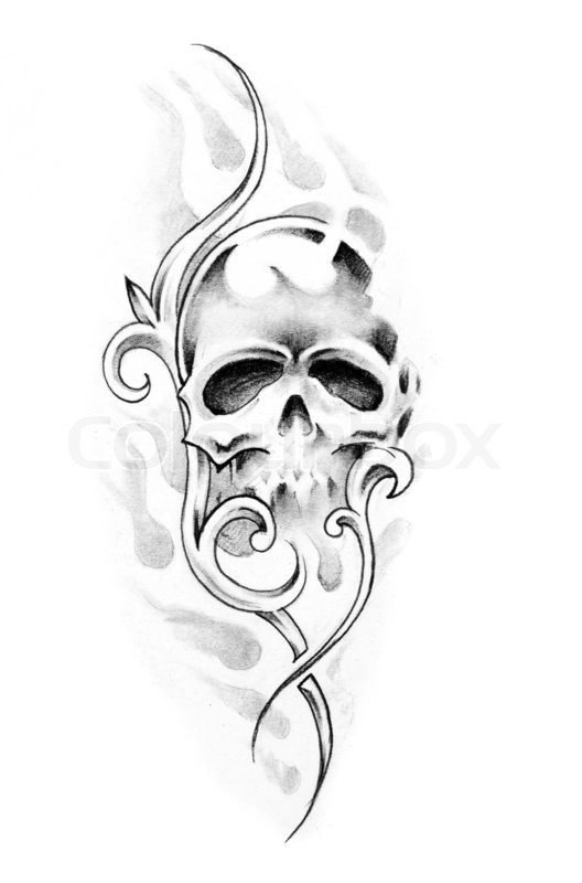 sketch of tattoo art skull stock photo colourbox. Black Bedroom Furniture Sets. Home Design Ideas