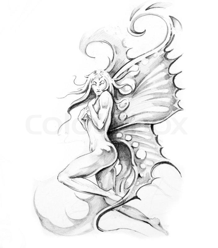 Sketch Of Tattoo Art Fairy Stock Image Colourbox