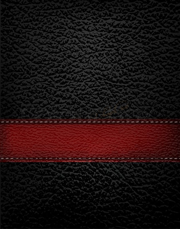 Black Leather Background With Red Leather Strip Vector