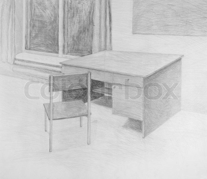 Fenster bleistiftzeichnung  Bleistiftzeichnung von Stuhl und Tisch | Stockfoto | Colourbox