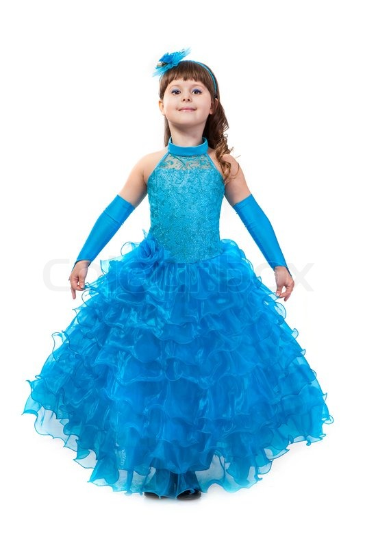 Portrait of cute smiling little girl in princess dress | Stock Photo ...