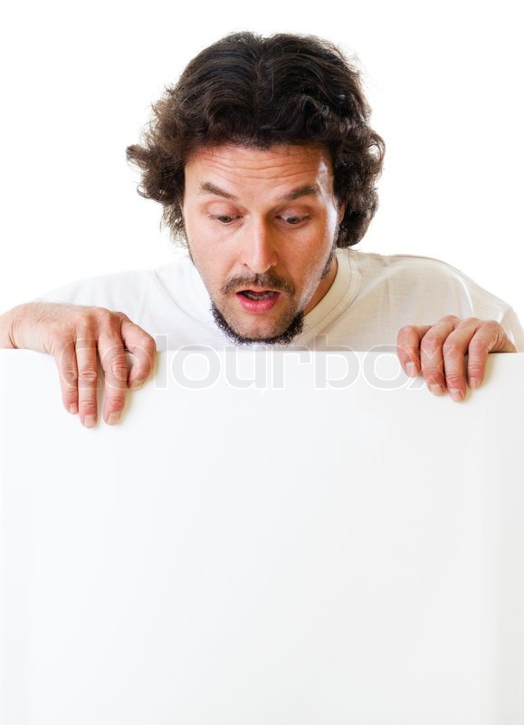 mid aged man looking down on a sign stock photo colourbox. Black Bedroom Furniture Sets. Home Design Ideas