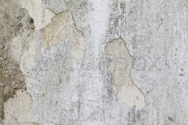 Cracked Old White Concrete Wall Texture Background