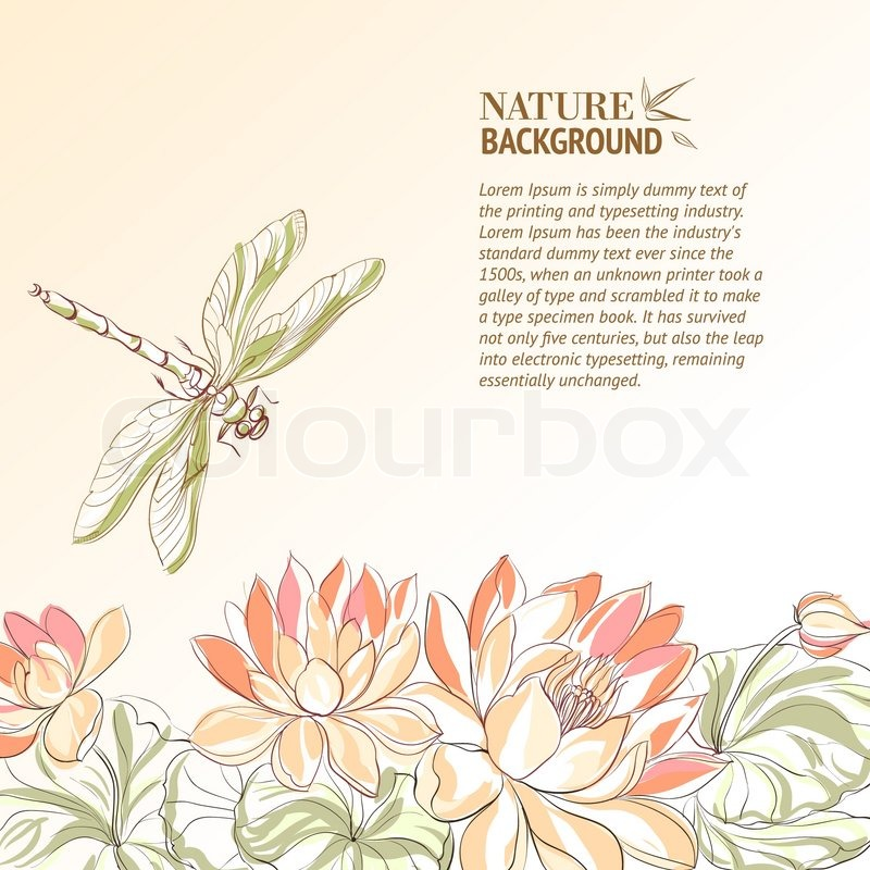 lotus blume und libelle vektorgrafik colourbox. Black Bedroom Furniture Sets. Home Design Ideas