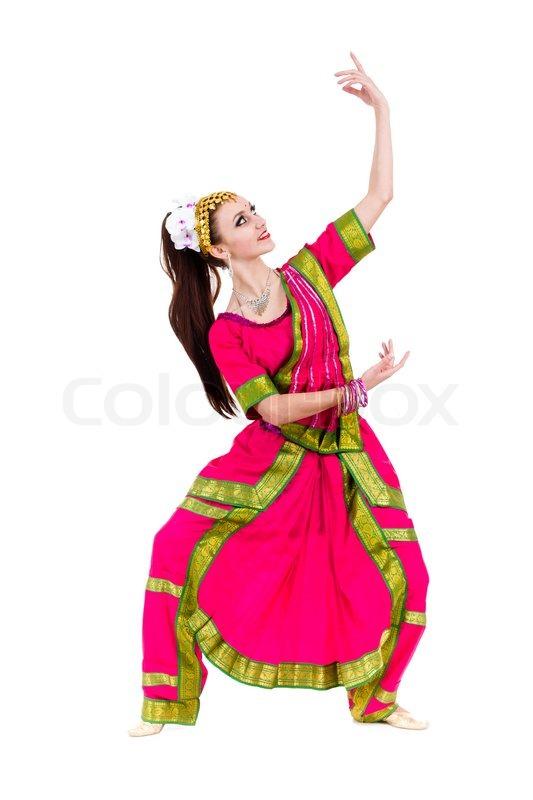 Full Length Portrait Of Indian Woman Dancing In Studio
