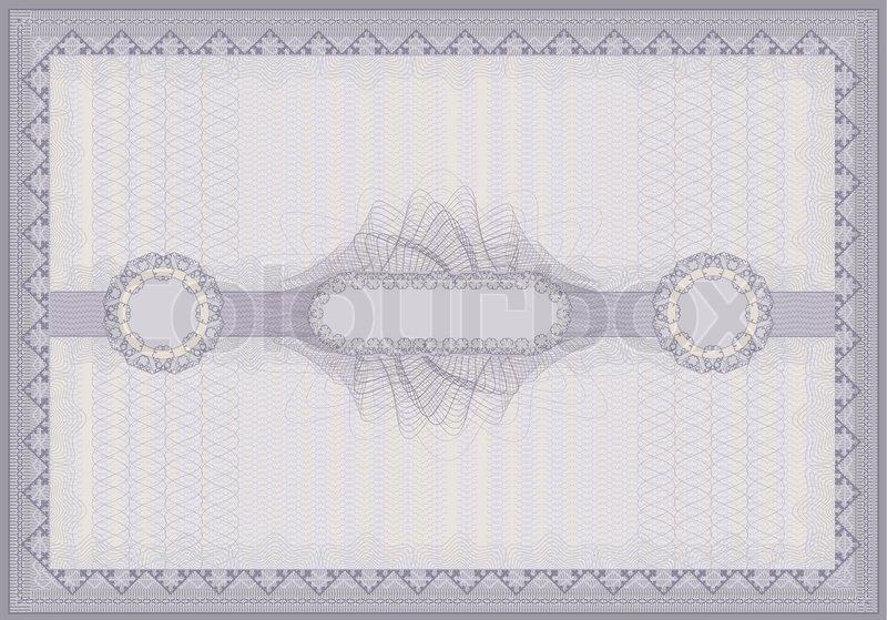 Raster Certificate violet guilloche voucher template horizontal A4 ...