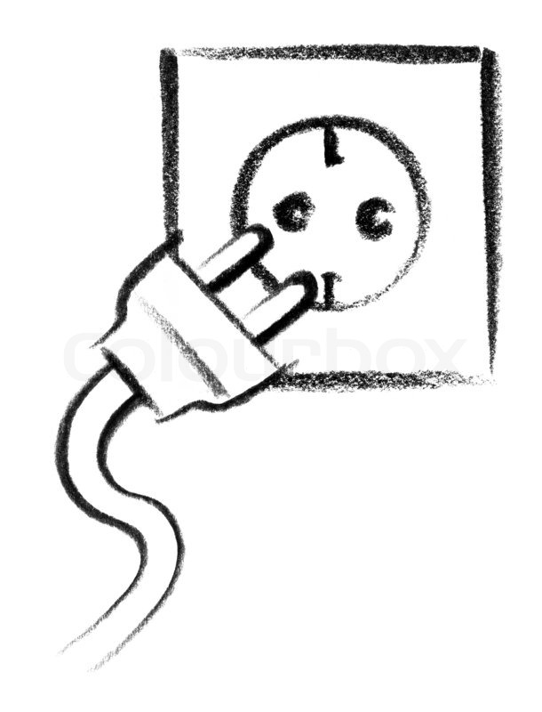 Crayon-sketched illustration of a electrical outlet and ...