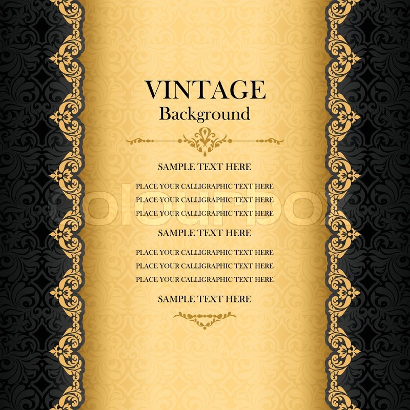Vintage background antique greeting card black invitation with vintage background antique greeting card black invitation with gold lace and floral ornaments beautiful luxury postcard old paper ornate page cover stopboris Gallery