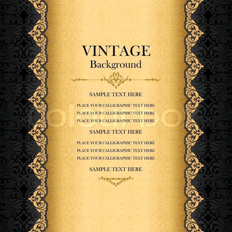 Vintage Background Antique Greeting Card Black