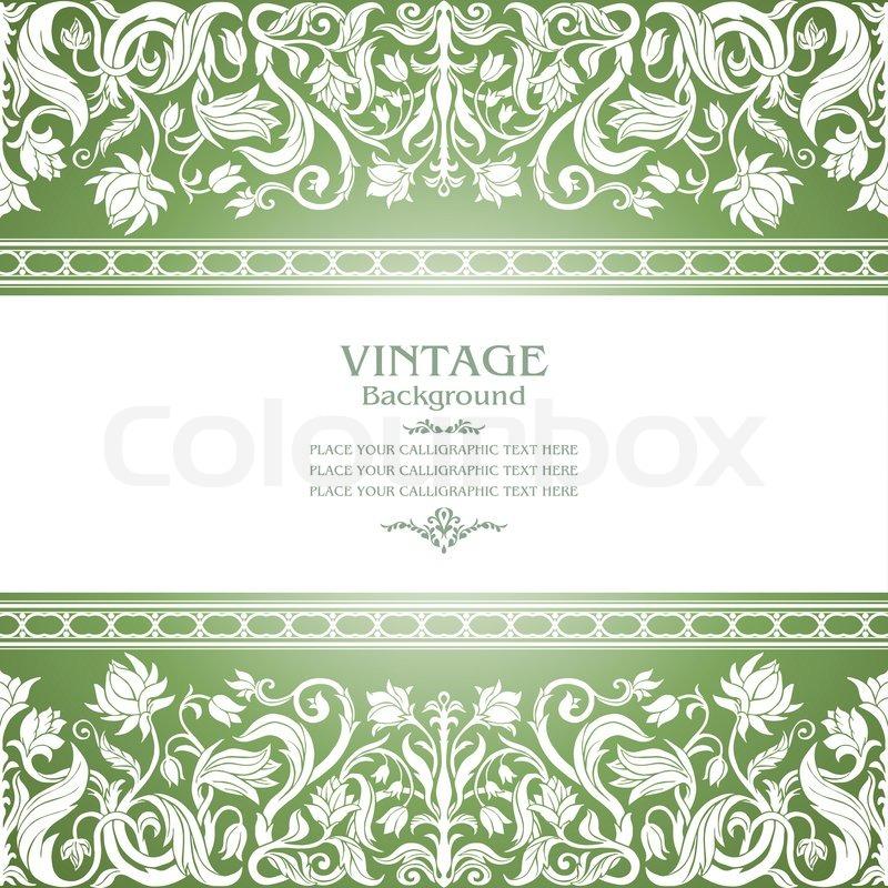 Vintage- grünen Hintergrund , floral antiken Karte , victorian weißen Ornament , Barock -Rahmen ...