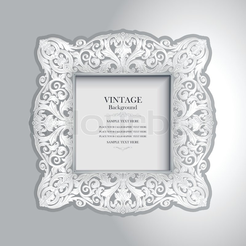 Stock Vector Of Vintage Ornamental White Frame Luxury Photo On Wall Rich