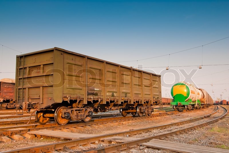 Freight Wagon On Railroad Tracks