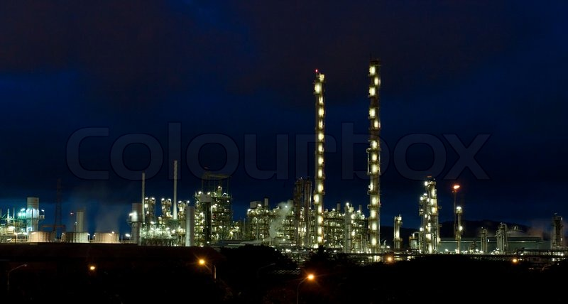 Beautiful scenery landscape of the refinery industrial park in the night time, stock photo