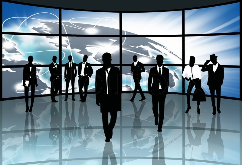 Silhouettes,Business people with the exchange, stock photo