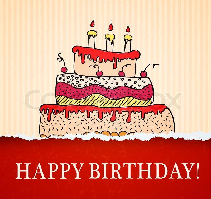 Geburtstagskarte Hand Mit Kuchen Auf Vektorgrafik Colourbox