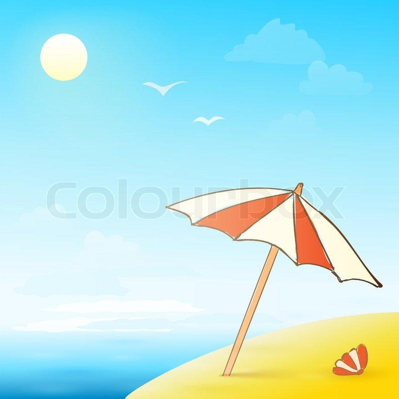 Sonnenschirm grafik  Strand Hand gezeichnet Banner mit Sonnenschirm und Shell eps10 ...
