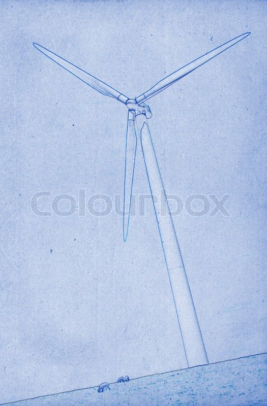 ... drawing or blueprint illustration on blue background, modern windmill