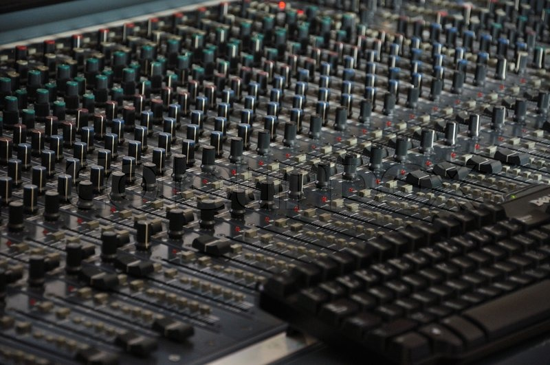 In process of recording new song, in recording studio.., stock photo