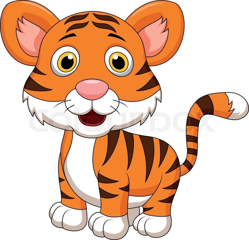 Cute baby tiger cartoon | Stock Vector | Colourbox