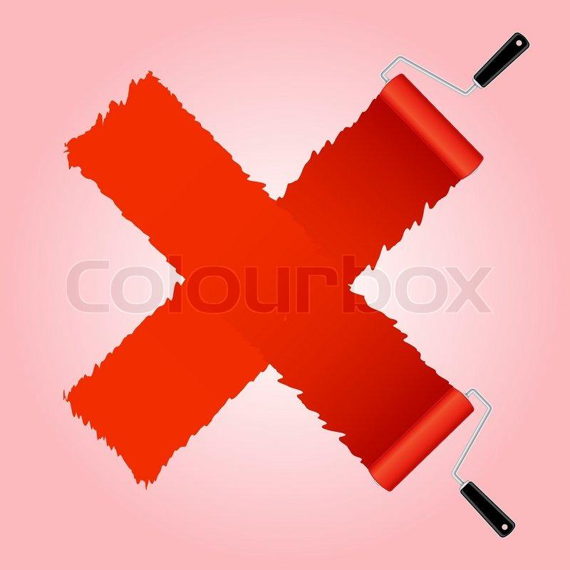 Rotes Kreuz Symbol aus Farbroller Pinsel | Vektorgrafik | Colourbox | {Rotes kreuz symbol 54}
