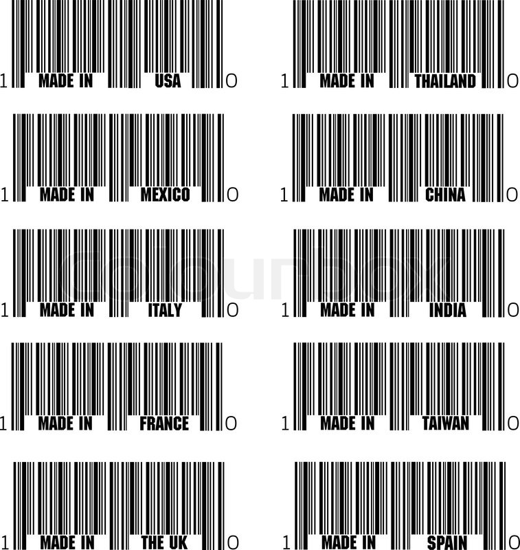 Set Of Black Barcode Of Made In Symbols Including Italy