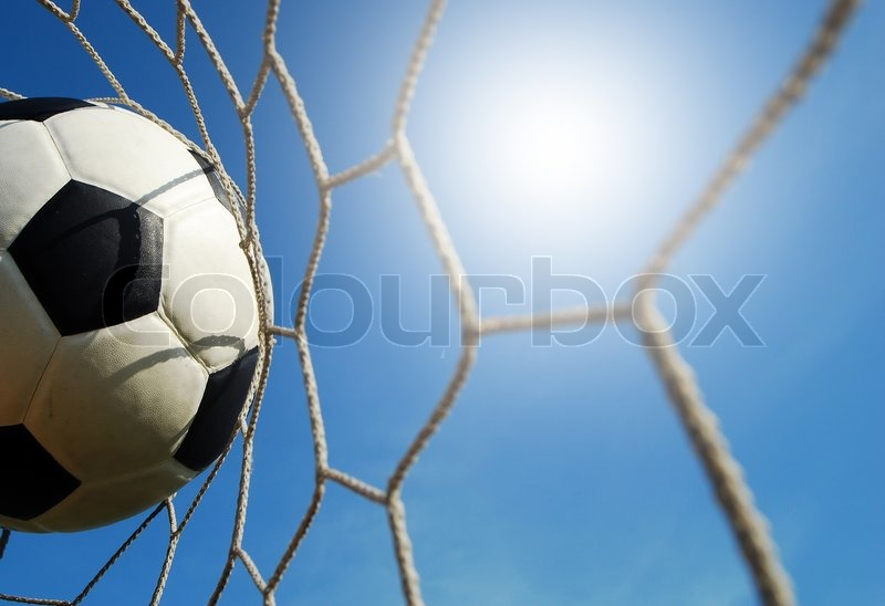 Soccer Football On Green Field With Blue Sky Background: Football Field Soccer Stadium On The ...