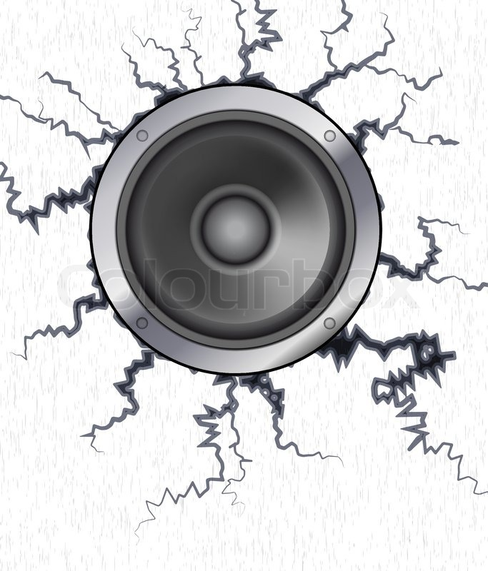 A Powerful Speaker In A Cracked Wall Stock Vector