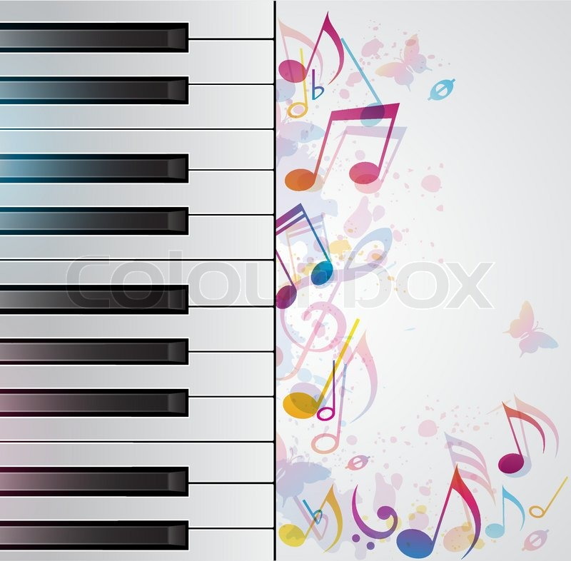Piano Background Music: Vector Music Background With Piano And Notes