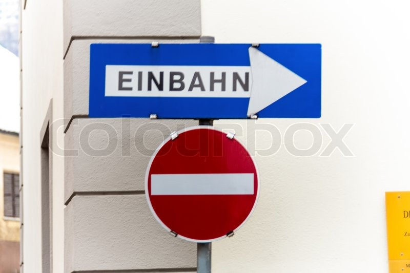 Way street, two road signs, symbolic photo for traffic regulations, direction, clarity, stock photo