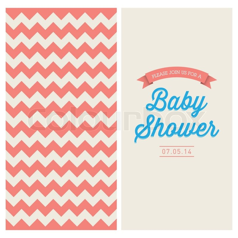 Baby shower invitation card editable with vintage retro background baby shower invitation card editable with vintage retro background chevron type font and ribbons stock vector colourbox filmwisefo
