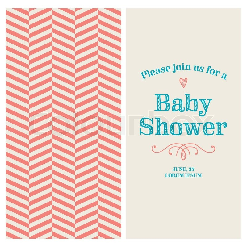 Baby shower invitation card editable with vintage retro background baby shower invitation card editable with vintage retro background chevron type font ornaments and heart stock vector colourbox filmwisefo