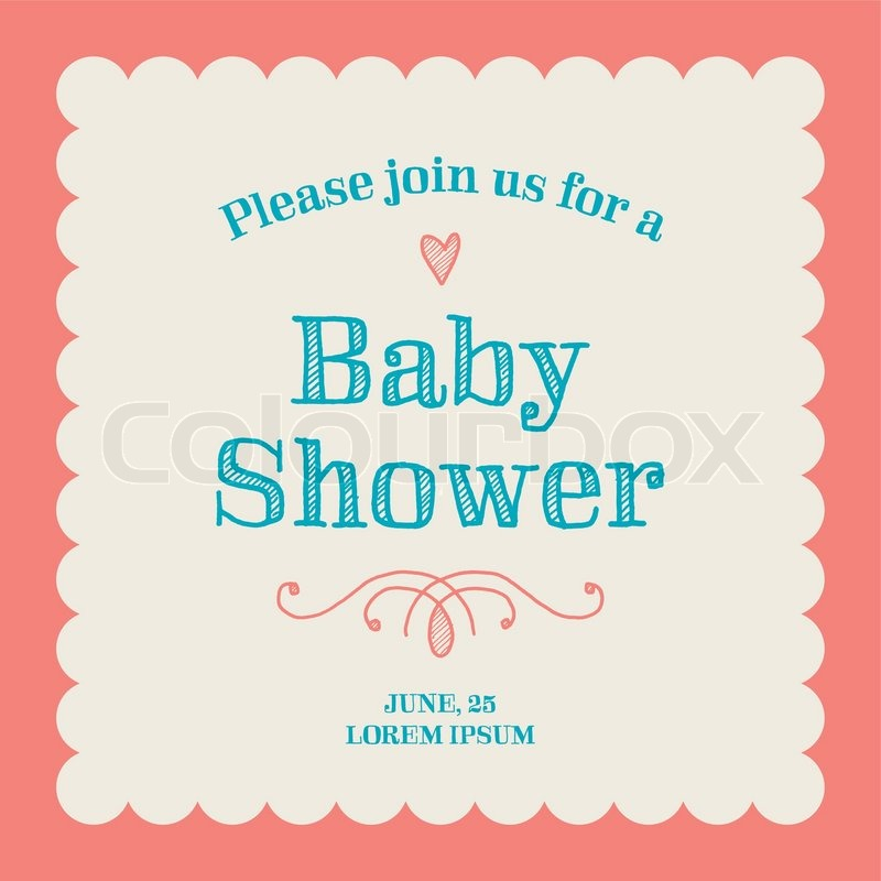 Exceptional Baby Shower Invitation Card Editable With Type, Font, Ornaments, Heart  Frame Border Vintage, Vector
