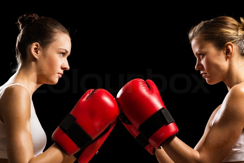 Stock image of 'two female boxers face each other, pushing the boxing ... Angry Black Woman Face