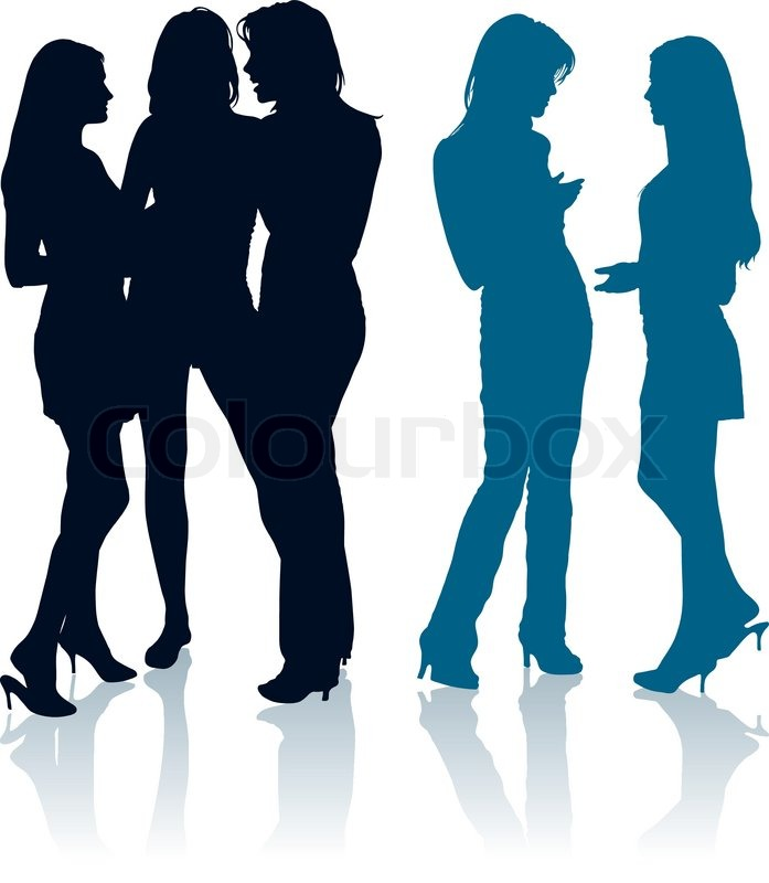 Silhouettes Of Young Women Chatting With Each Other -4311