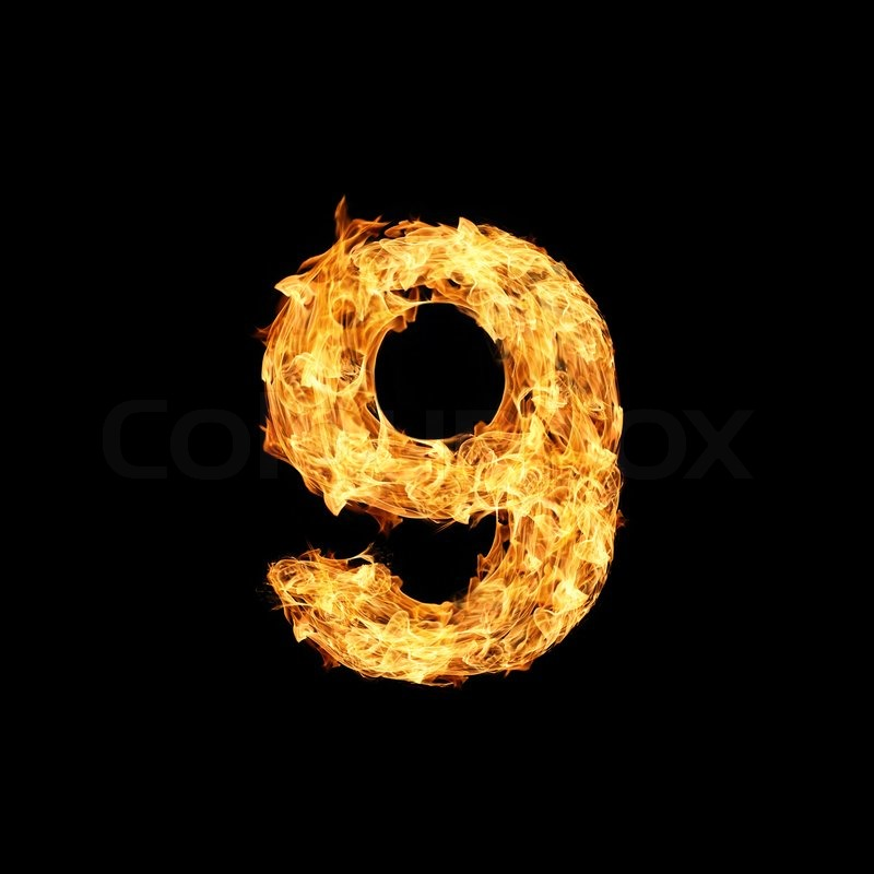 Number nine made from fire stock photo colourbox - Raging demon symbol ...