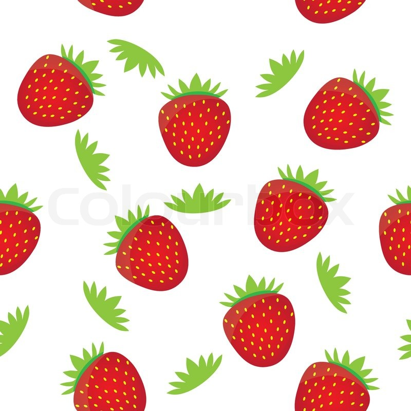 Seamless background pattern template- colorful strawberry ...