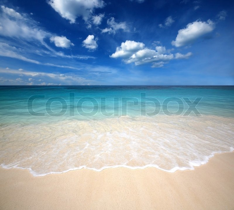 Sea sand sun beach blue sky thailand landscape nature viewpoint, stock photo