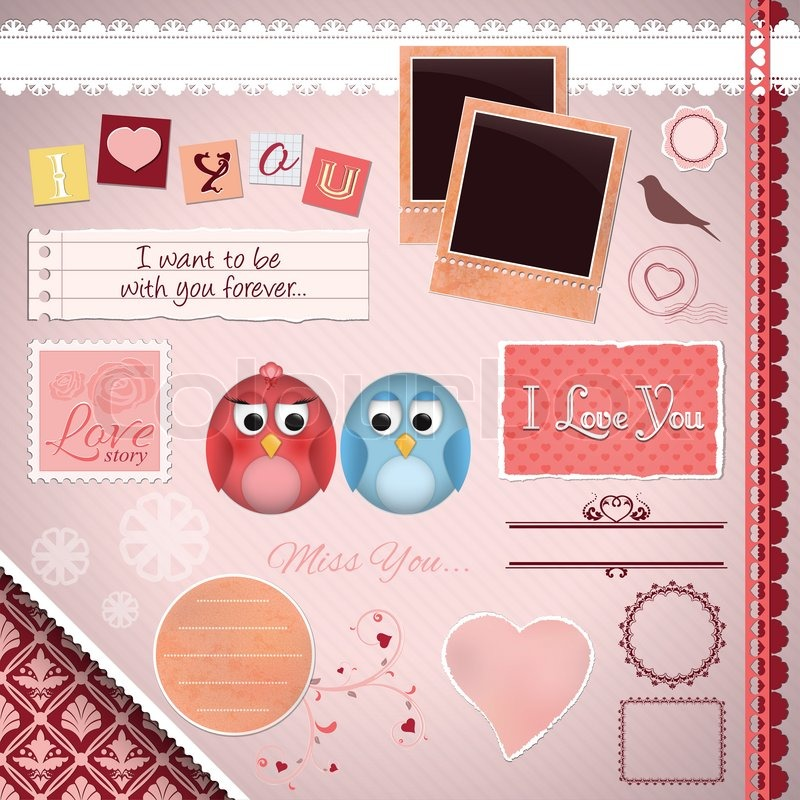 Scrapbooking Set: Ich liebe dich - Cartoon Vögel , Rahmen , Bänder ...
