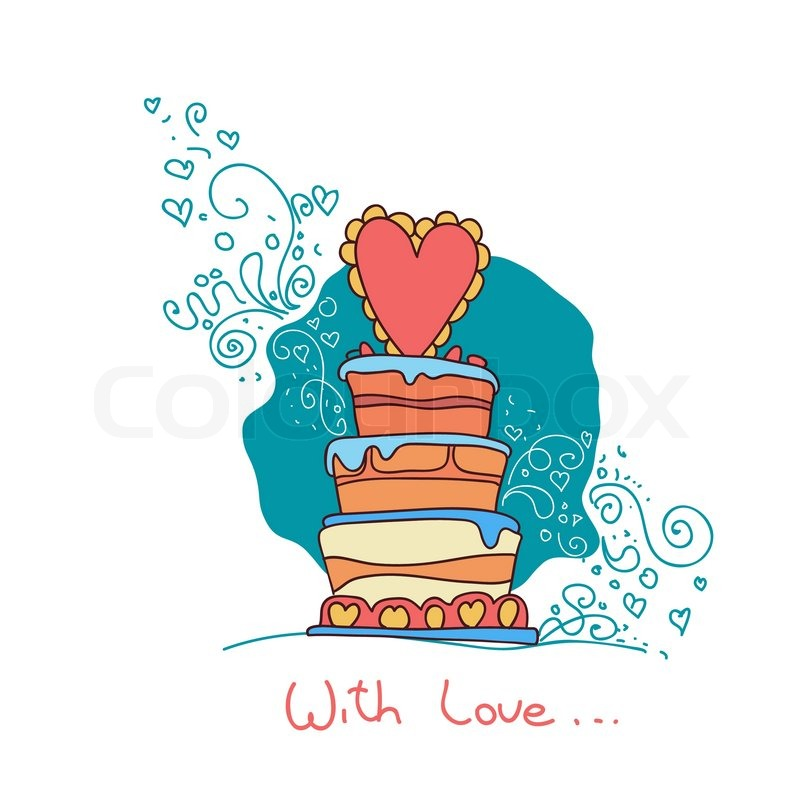 wedding cake box design vector vector card doodle wedding cake stock vector colourbox 22061