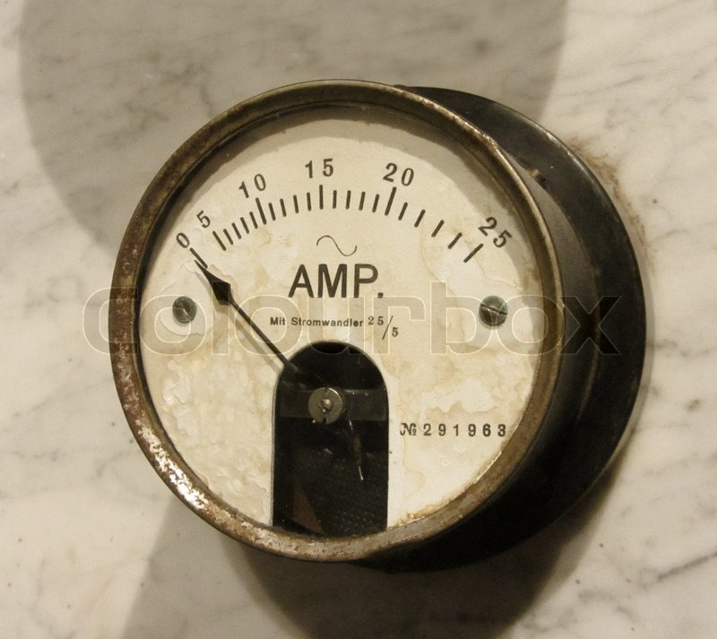 Electric Meter Technology : Vintage amper meter closeup old electric instrument