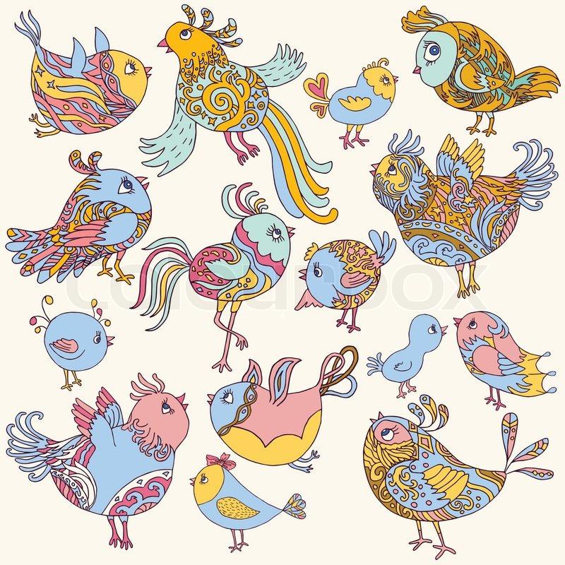 Set Of Cute Birds Adorable Retro Colorful Collection