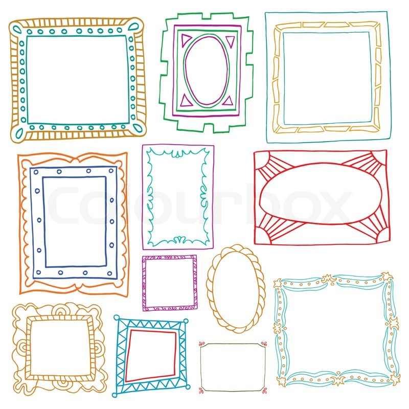 Vintage photo frames set, drawing doodle style, antigue ornamental ...